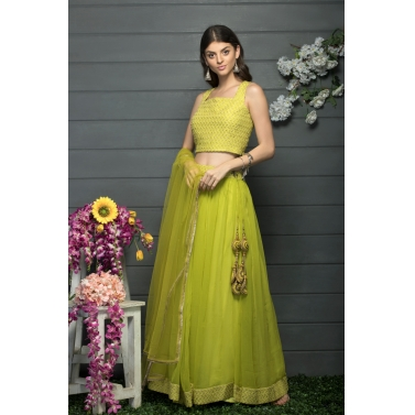 designer-womens-wear/lime-green-skirt-and-blouse-set-with-a-dupatta