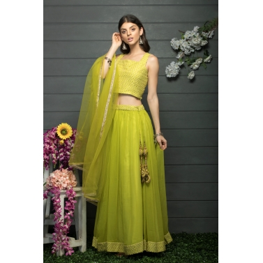 Lime green Skirt and blouse set with a dupatta