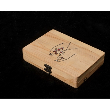 entwined fingers wooden clutch bag