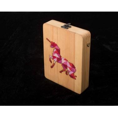 unicorn cross stitch wooden clutch bag