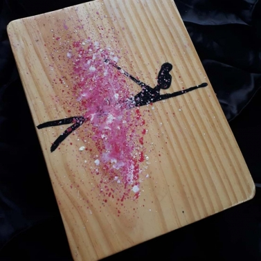 dancing girl wooden clutch bag