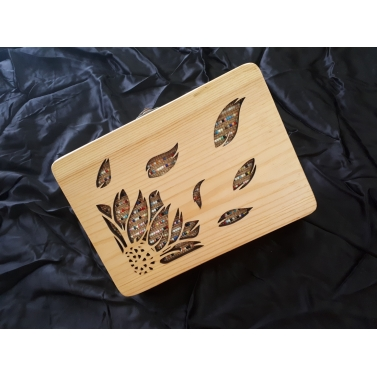 floral cut out wooden clutch bag
