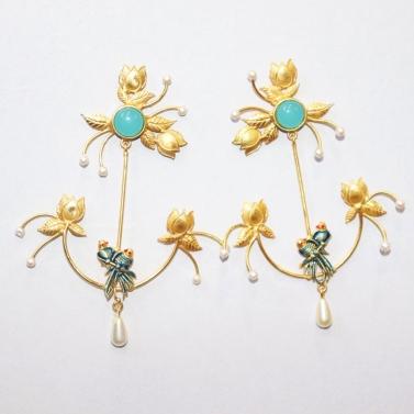 designer-womens-wear/flowers-in-bloom-with-love-birds-earrings