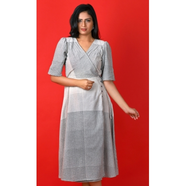 White And Grey cotton Jute dress