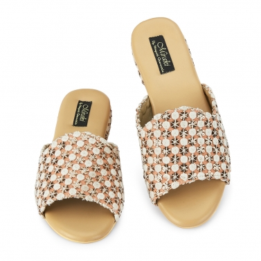 PEACH & GOLD MOCCASINS