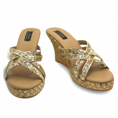designer-womens-wear/peach-gold-sequins-wedges-with-shimmer-straps