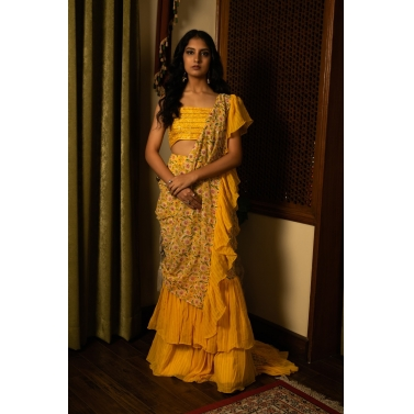 designer-womens-wear/yellow-ruffle-saree