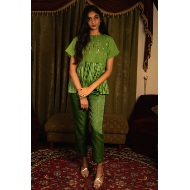 green Blouse And Pant Set