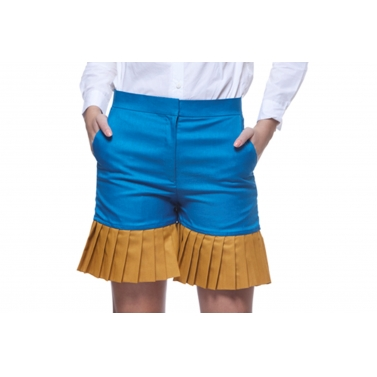 Blue & Chrome pleated Shorts