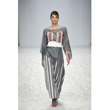 Grey Long Printed Pleated Skirt