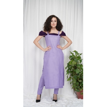 Purple Off Shoulder Kurta