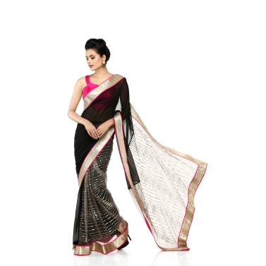 Black Sari with Sequins Panels