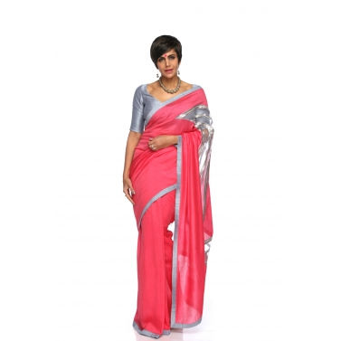 Rasberry Linen Cut- work Sari