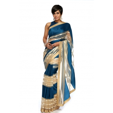 designer-womens-wear/teal-blue-beige-stripe-sequins-sari