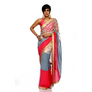 designer-womens-wear/pink-grey-rasberry-stripe-sari