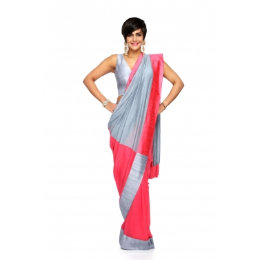 designer-womens-wear/grey-rasberry-linen-sari