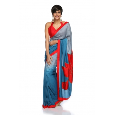 designer-womens-wear/grey-to-teal-blue-shaded-cotton-silk-sari-with-lotus-embroidery