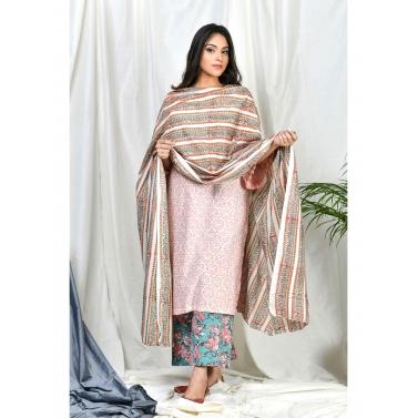 Qasira Suit set with Stripe Block print dupatta