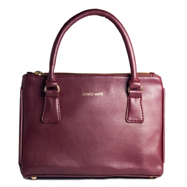 Saturdaze Double Zip Satchel Bag - Maroon