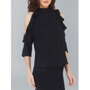 Cold Sleeve Black Chic Top