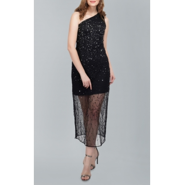 One Shoulder Sequin Black Gown