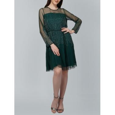 Green Sequin Tulle Mini