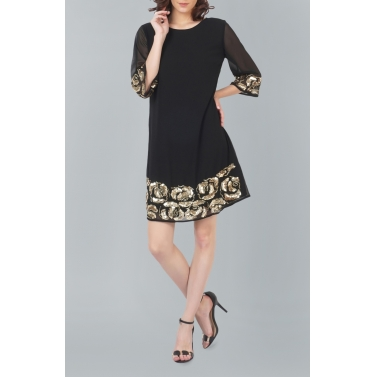 Rose Motif Black Dress