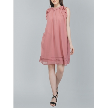Sleveeless, Frill Pink Dress
