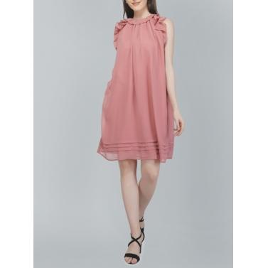 Sleveeless, Frill Pink Dress