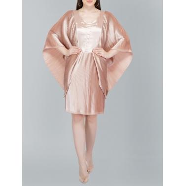 Flutter Sleeve Pleated Beige Satin Dress