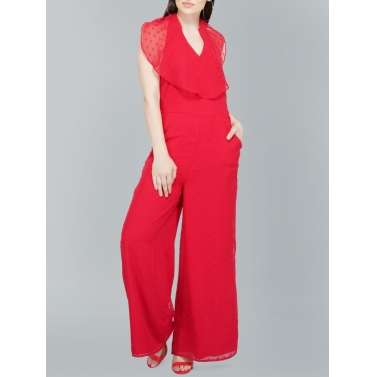 Red Dobby Jumpsuit