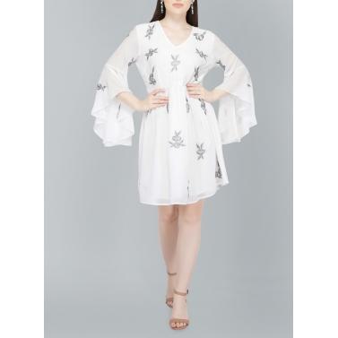 Rose Embriodery, Summer White Mini