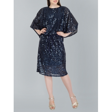 Drop-waist Blue Sequin Dress
