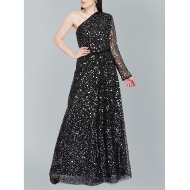Off Shoulder Black Sequin Gown