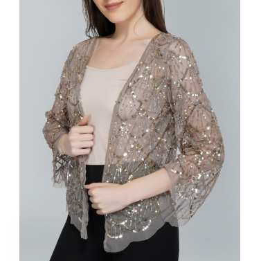 Beaded Beige Tulle Shrug1