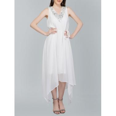 Sequin Neckline, Hankerchief Hem White Dress