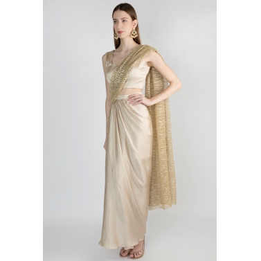 Champagne Gold Draped Saree