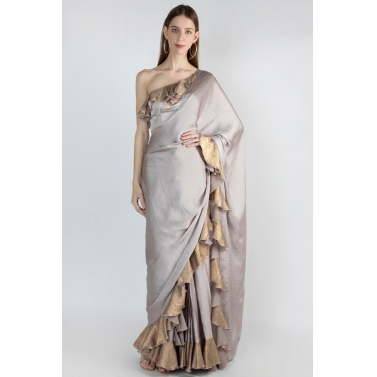 Adjustable Frill Saree With One Shoulder Blouse