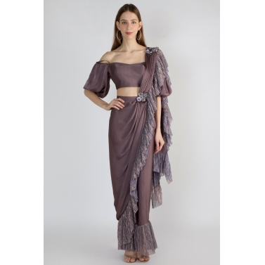 Shimmery Frill Stitched Saree With Balloon Sleeve Off shoulder blouse