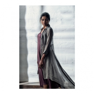 Grey Portwine Chanderi Dress