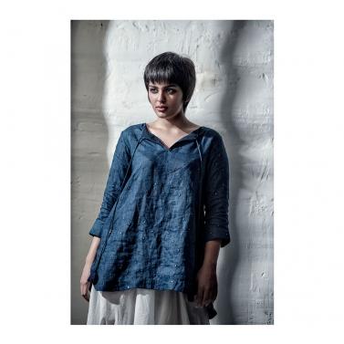 Blue Linen Mirror Shirt