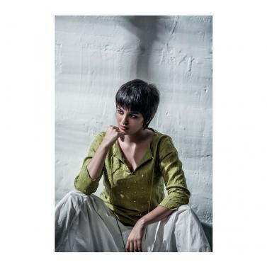 Green Linen Mirror Shirt