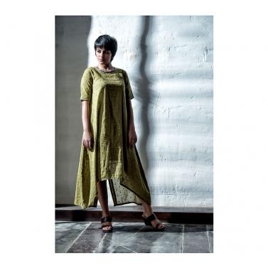 Green Cotton Mirror Work Dress