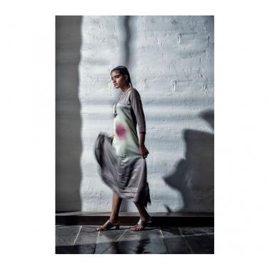 Grey Tye Dye Satin Dress