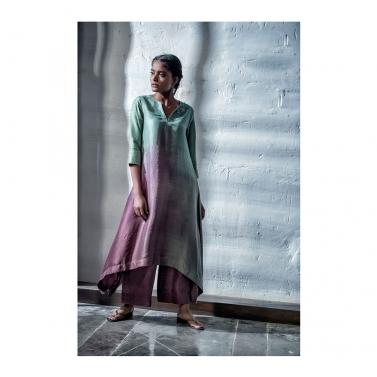 designer-womens-wear/green/wine-dupion-crape-kurta-palazzo