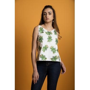 Tropical Leaf String Top