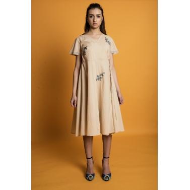 Blue Daisy Asymmetrical Closing Dress