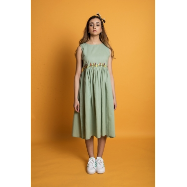 Flower Row Yoke Dress