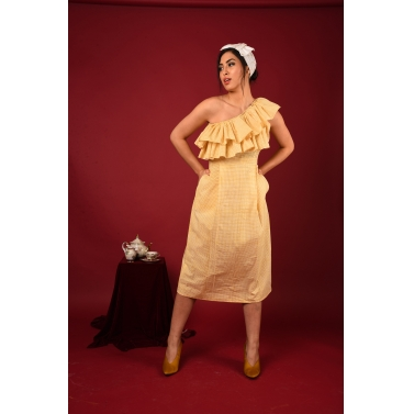 Yellow One Off Shoulder A-line Dress