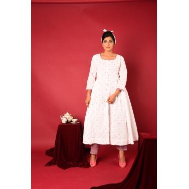 Pink Polka Anarkali Suit